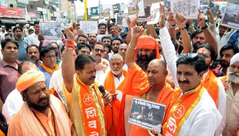 Members of Gau Raksha Dal holding a Protest in 2016. Does the sudden increase in vigilante groups signal an erosion of civil liberties and democratic values?