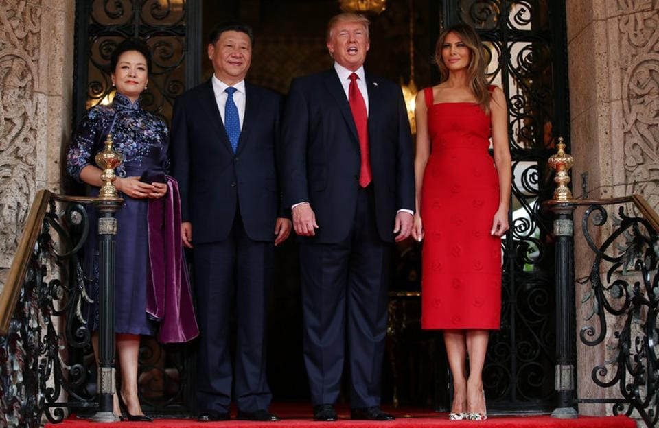U.S. President Donald Trump and First Lady Melania Trump welcome Chinese President Xi Jinping and first lady Peng Liyuan. Trump has said he wants to raise concerns about China's trade practices and urge Xi to do more to rein in North Korea's nuclear ambitions during his first talks with the Chinese leaders, though no major deals on either issue were expected. (Carlos Barria/REUTERS)