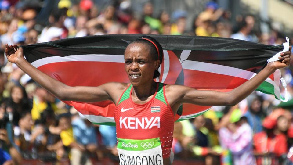 Jemima Sumgong of Kenya celebrates after winning the 2016 Rio Olympics Women's Marathon in Rio de Janeiro on August 14, 2016 (file photo).