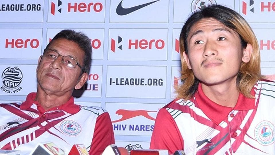 Mohun Bagan coach Sanjoy Sen with Katsumi Yusa at a press conference ahead of the derby in Siliguri.