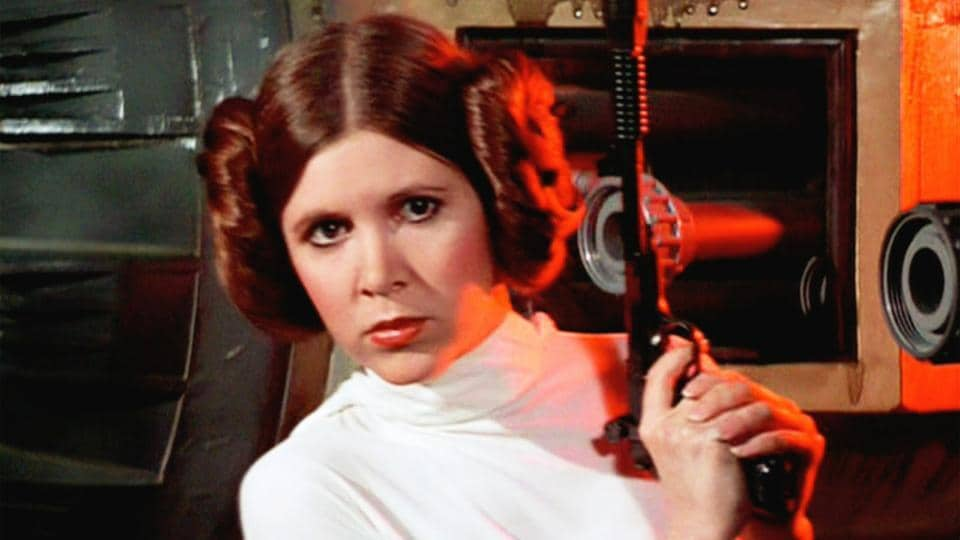 Carrie Fisher played the brave Princess Leia in the space epic.
