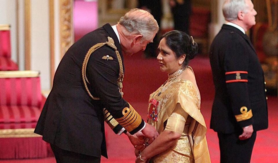 Asha Khemka was honoured with one of the UK's top civilian awards—  Dame, the female equivalent of knighthood — by the Prince of Wales in 2014 .