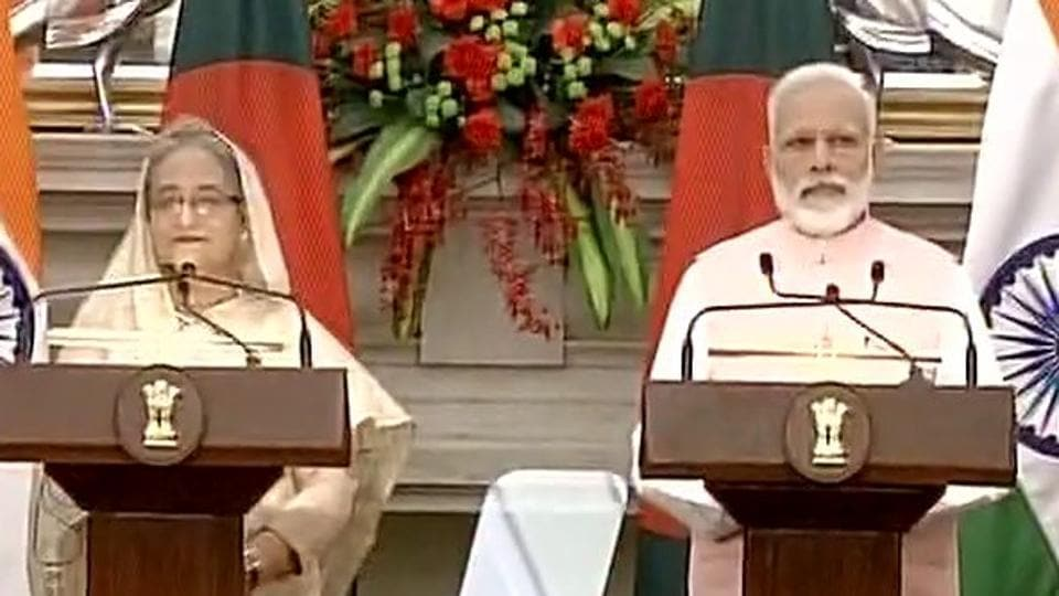 Prime Minister Narendra Modi and Bangladesh Prime Minister Sheikh Hasina after holding talks on Saturday.