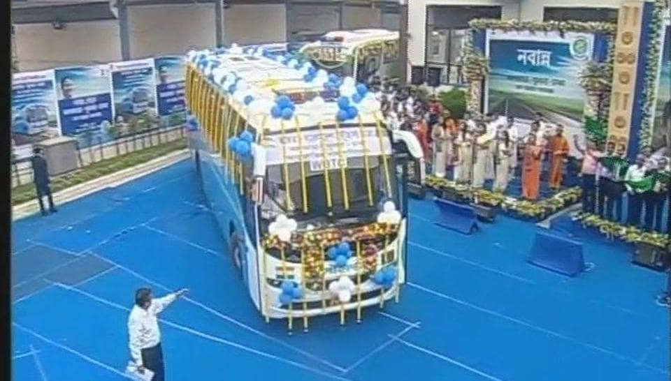 Three buses were flagged off from West Bengal to Bangladesh as part of a trail run for a new bus service between the two neighbours.