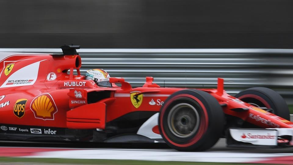 Sebastian Vettel set the fastest time in the final practice session ahead of Lewis Hamilton and Kimi Raikkonen in the Shanghai Grand Prix.