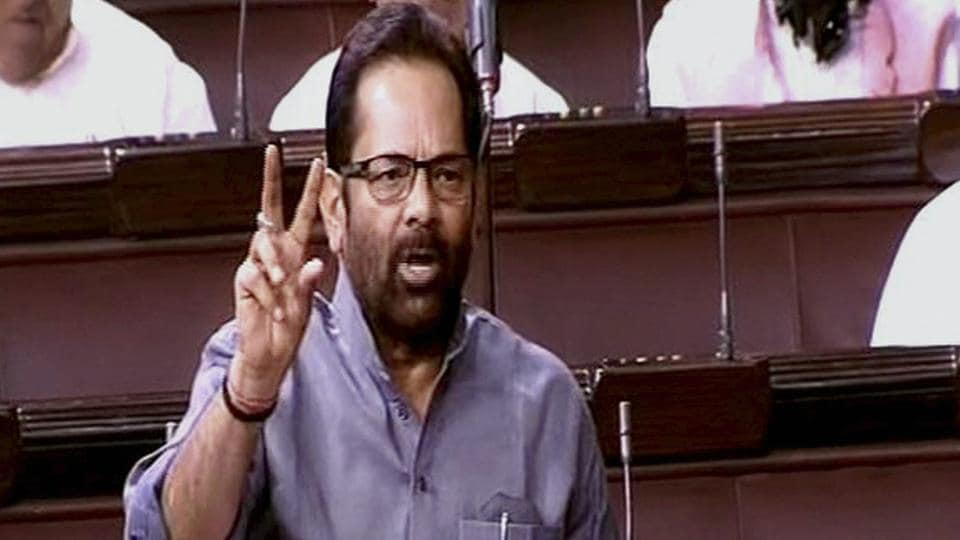 MoS for Parliamentary Affairs Minister Mukhtar Abbas Naqvi speaks in the Rajya Sabha in New Delhi on Friday.