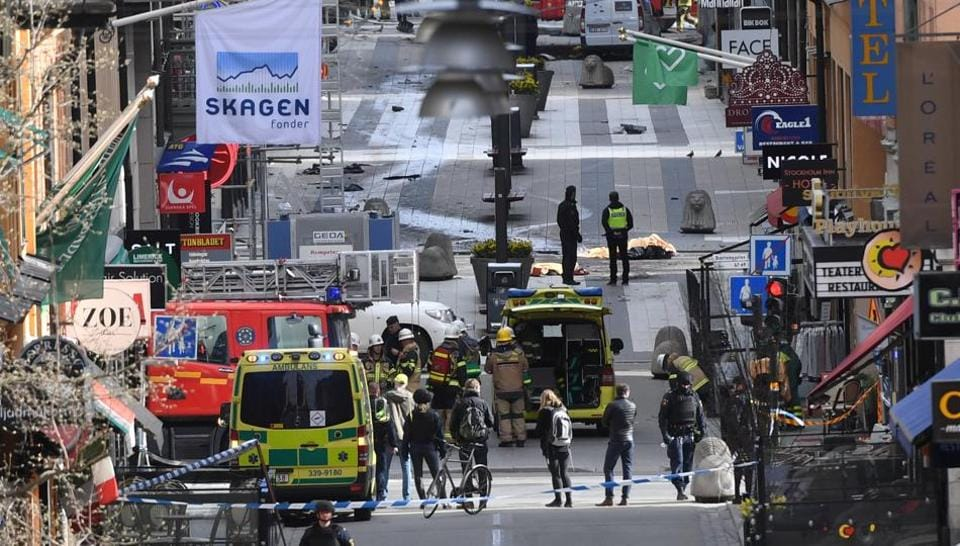 A view of the street where at least four people were killed and several injured when a truck crashed into department store Ahlens, in central Stockholm.