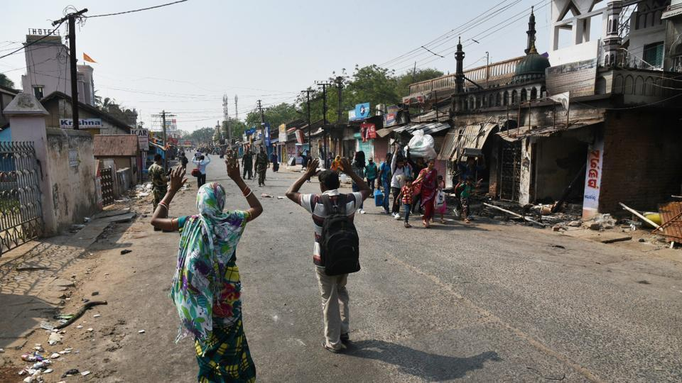 Though Section 144, prohibiting assembly of four or more people in public places, was imposed in the town, officials had to clamp curfew as the situation deteriorated further. (Arabinda Mahapatra/HTPhoto)