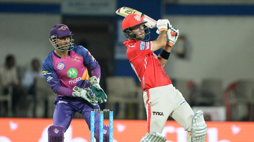 Kings XI Punjab batsman Glenn Maxwell pulls one as Rising Pune Supergiants wicketkeeper MS Dhoni looks on during their Indian Premier League match at the Holkar Stadium in Indore on Saturday.  (AFP)