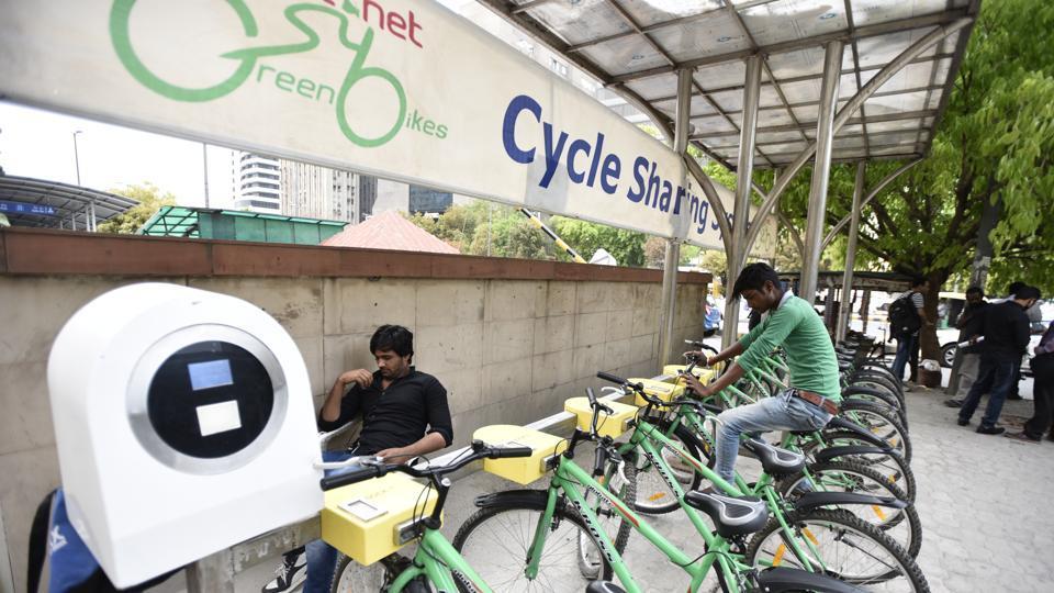 A public bicycle sharing facility outside Barakhamba Metro.