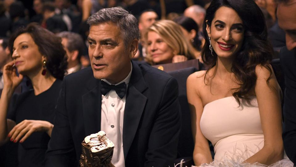 George and Amal Clooney at the 42nd edition of the Cesar Ceremony at the Salle Pleyel in Paris on February 24, 2017.