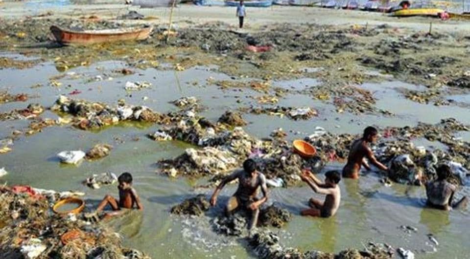 A view of the Ganga, the holy river is one of the most polluted rivers in the country.