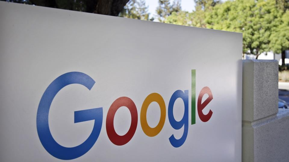A sign outside Google headquarters in Mountain View, California.