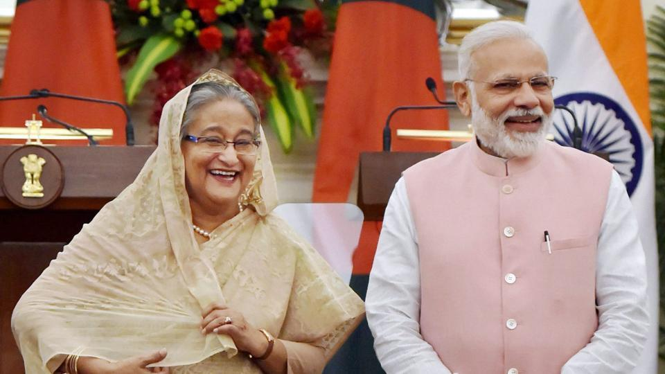Prime Minister Narendra Modi with his Bangladeshi counterpart Sheikh Hasina during a joint press conference, at Hyderabad house in New Delhi on April 8.