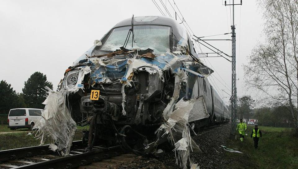 The damaged nose of a Pendolino fast train that hit a flat-bed truck at an unguarded railway crossing in Schodnia, southwetern Poland, Thursday, April 7, 2017.