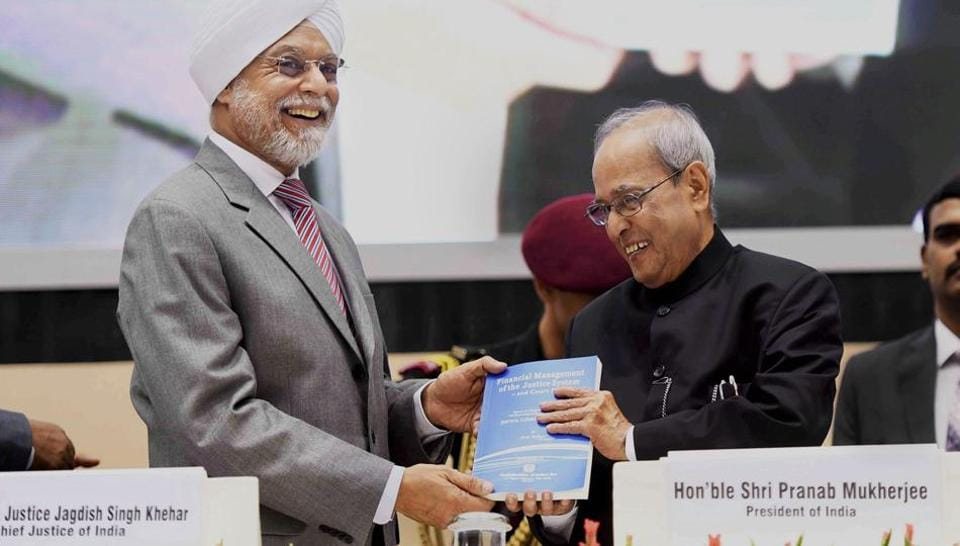 President Pranab Mukherjee with Chief Justice of India JS Khehar during the inauguration of All-India Seminar being organised by the Confederation of Indian Bar at Vigyan Bhavan in New Delhi on Saturday.