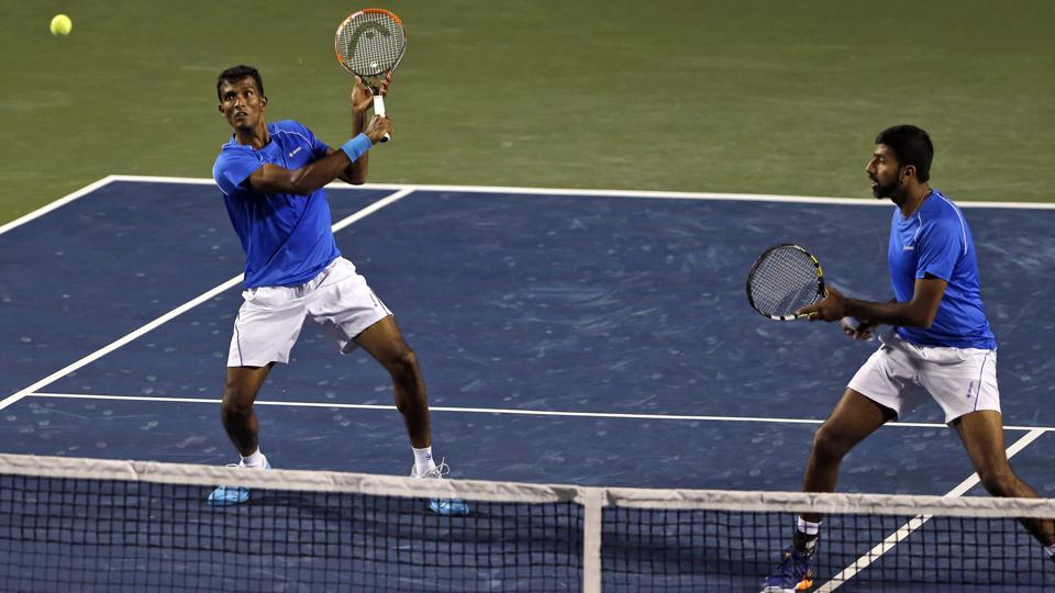 Rohan Bopanna (right) and Sriram Balaji won the all-important Davis Cup doubles rubber to give India an unbeatable 3-0 lead in the Davis Cup tie vs Uzbekistan in Bangalore on Saturday.
