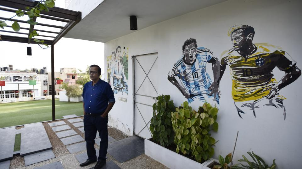Arif Khair's home in Greater Kailash is a veritable gallery of street art — a scene from the movie Roman Holiday, and football legends Messi and Ronaldo.