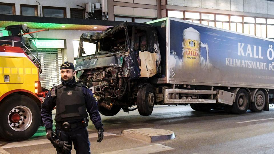 The truck that crashed into a department store at Drottninggatan in central Stockholm.