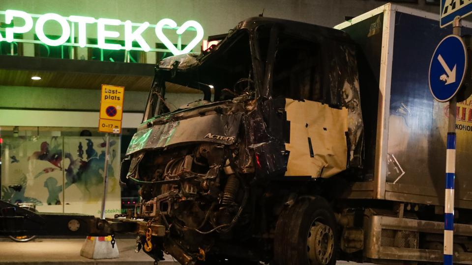 The truck which was driven into a department store in Stockholm, Sweden.
