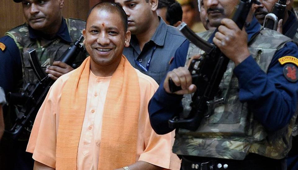 UP CM Yogi Adityanath after a cabinet meeting at Lok Bhawan in Lucknow.