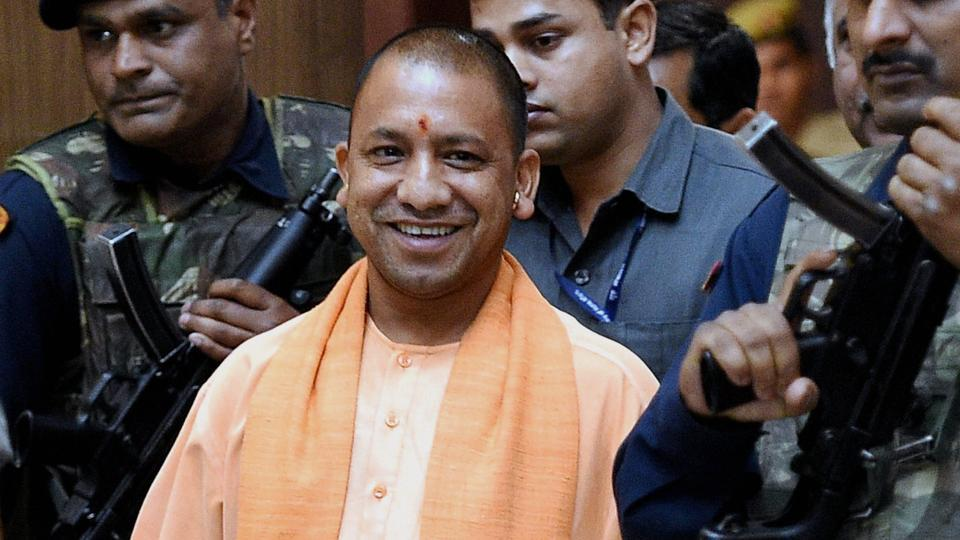 UP chief minister Yogi Adityanath coming out after a meeting at Lok Bhawan in Lucknow.