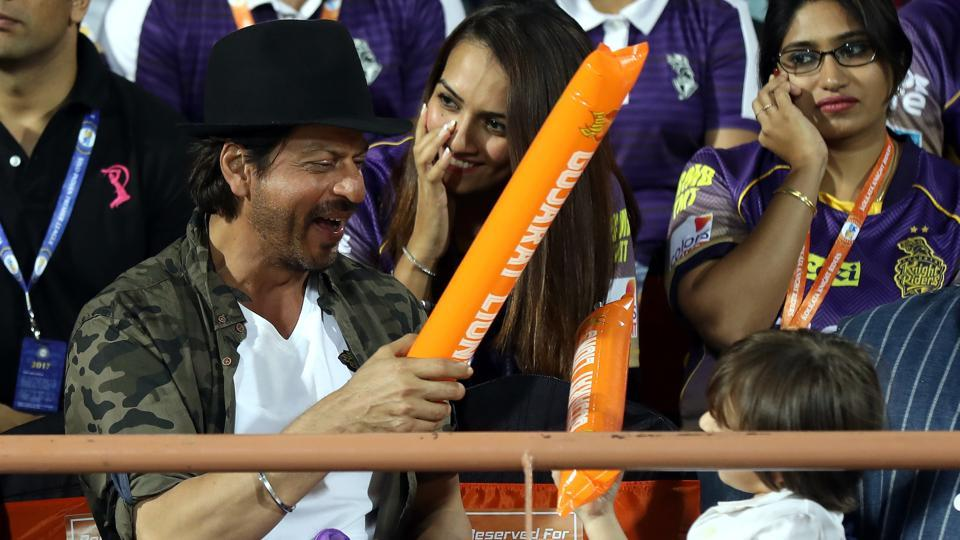 Shah Rukh Khan has fun with his son AbRam during the 2017 Indian Premier League game between Gujarat Lions and Kolkata Knight Riders. (BCCI)