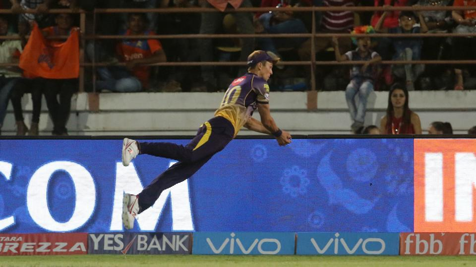 Trent Boult produced a stunning piece of fielding during the 2017 Indian Premier League encounter between Kolkata Knight Riders and Gujarat Lions.