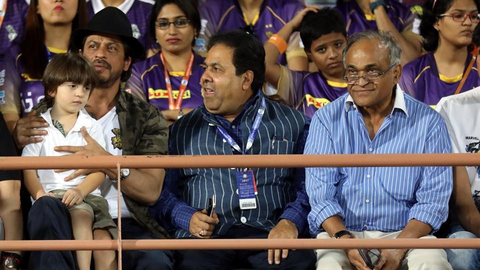 Shah Rukh Khan, the co-owner, was present for the 2017 Indian Premier League game between Gujarat Lions and Kolkata Knight Riders. He was with his son AbRam, along with Rajeev Shukla and Niranjan Shah. (BCCI)
