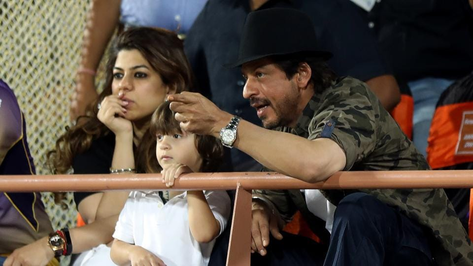Shah Rukh Khan and his son AbRam were spotted sporting the same tattoos during the game. (BCCI)
