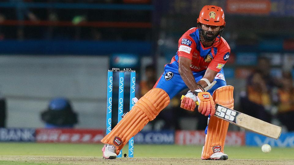 Dinesh Karthik plays a shot against Kolkata Knight Riders. (BCCI)