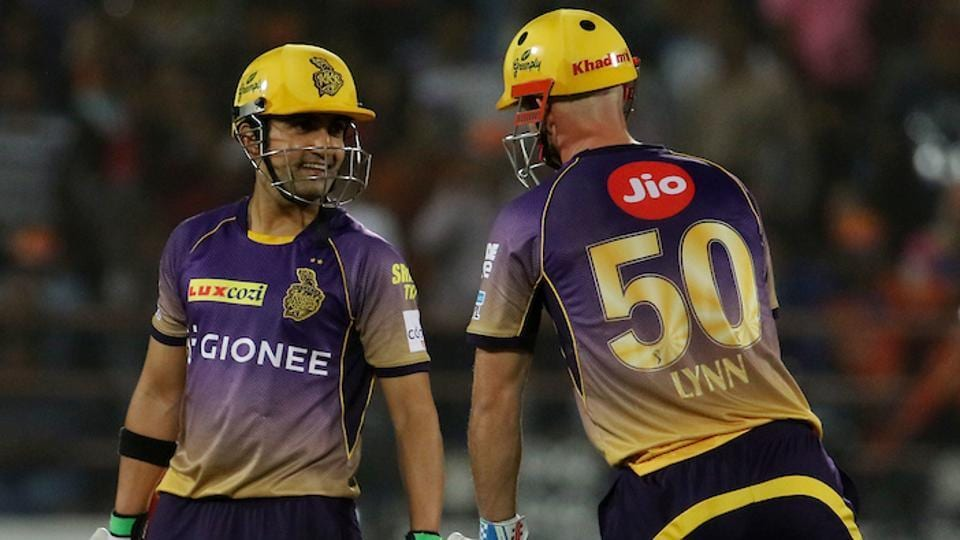Kolkata Knight Riders openers Chris Lynn and Gautam Gambhir talk during their match against Gujarat Lions. (BCCI)