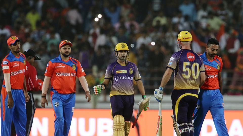 Chris Lynn and Gautam Gambhir stitched a record 184-run stand for the opening as Kolkata Knight Riders defeated Gujarat Lions by 10 wickets to register their first win over Suresh Raina's team.