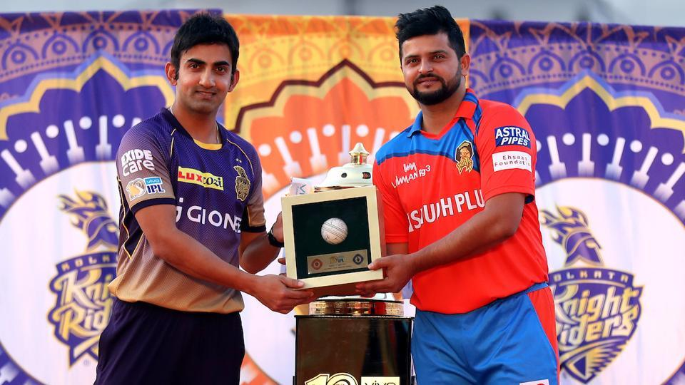 Kolkata Knight Riders captain Gautam Gambhir and Gujarat Lions captain Suresh Raina ahead of their IPL encounter. (BCCI)
