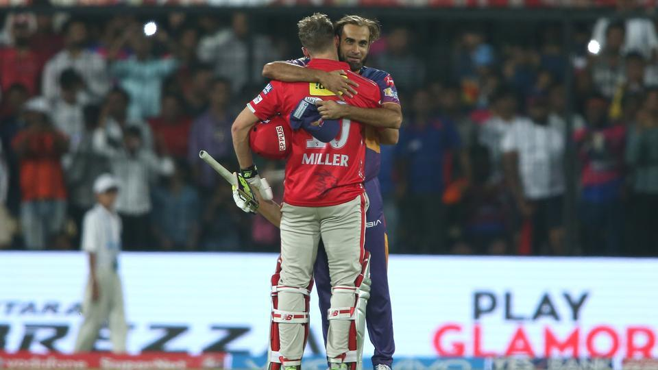 David Miller of Kings XI Punjab is congratulated by Imran Tahir of Rising Pune Supergiants after Kings XI Punjab won by six wickets on Saturday.  (BCCI)