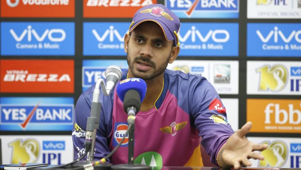 Manoj Tiwary of Rising Pune Supergiants during the press conference after the IPL 2017 match against Kings XI Punjab at the Holkar Stadium in Indore on Saturday.