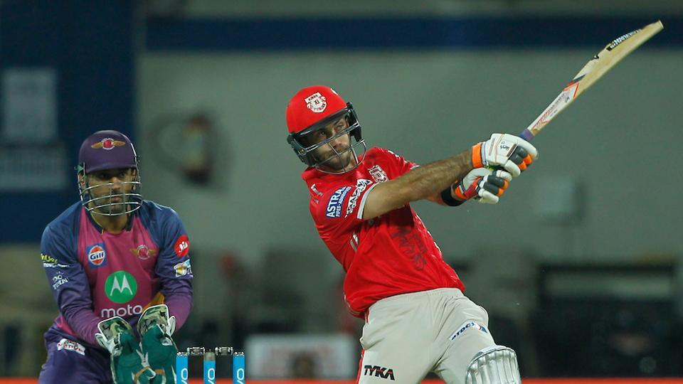 Glenn Maxwell of Kings XI Punjab hits a six during their Indian Premier League match against Rising Pune Supergiants  in Indore on Saturday. Catch highlights of Kings XI Punjab vs Rising Pune Supergiants here.
