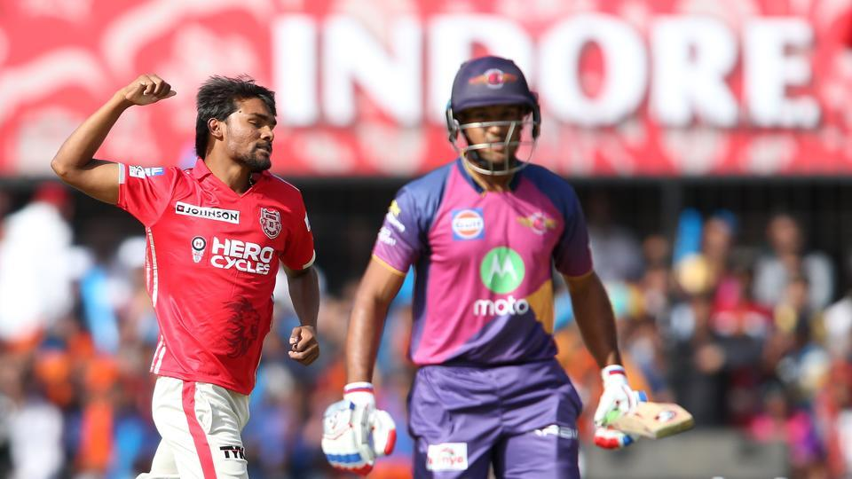 Sandeep Sharma of Kings XI Punjab celebrates after dismissing Mayank Agarwal of Rising Pune Supergiants during their Indian Premier League match at the Holkar Cricket Stadium in Indore on Saturday.  (BCCI)