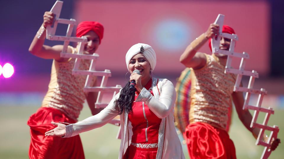 Harshdeep Kaur performs at the  Indian Premier League opening ceremony. (BCCI)