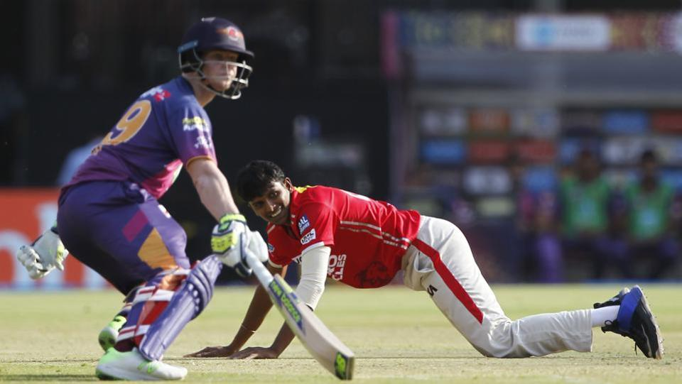 T Natarajan of Kings XI Punjab reacts as Rising Pune Supergiants captain Steve Smith takes a run during their Indian Premier League match on Saturday.  (BCCI)