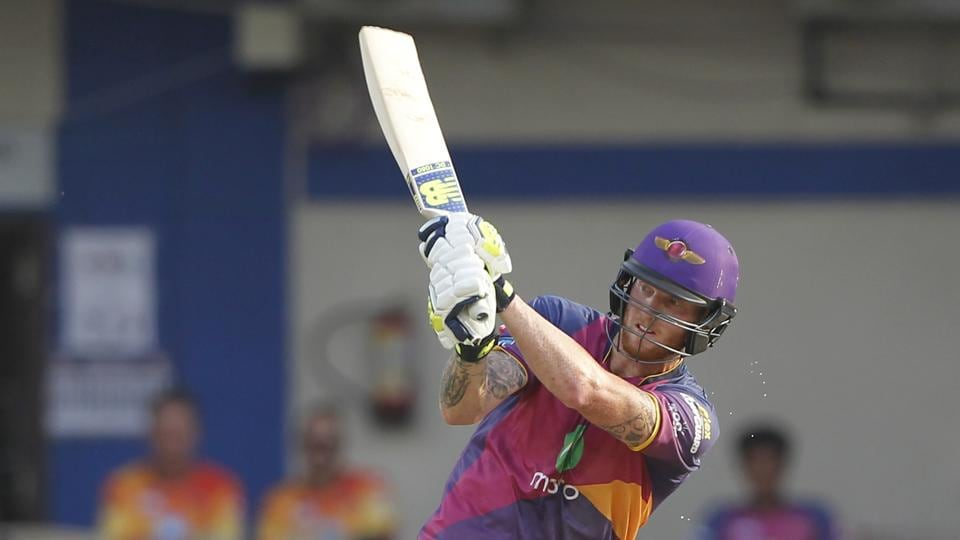 Ben Stokes of Rising Pune Supergiant goes over the midwicket during their Indian Premier League match against Kings XI Punjab in Indore on Saturday. (BCCI)