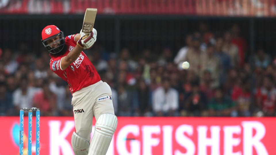 Hashim Amla of Kings XI Punjab hits over the top during their Indian Premier League match against Rising Pune Supergiants at the Holkar Stadium in Indore on Saturday.  (BCCI)