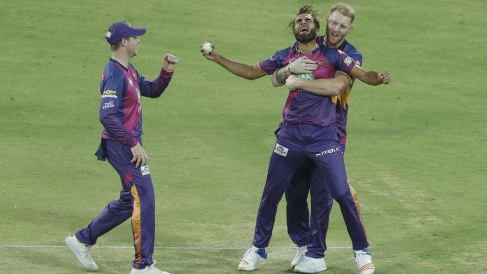 Imran Tahir of Rising Pune Supergiants celebrates the wicket of Axar Patel of Kings XI Punjab at the Holkar Stadium in Indore on Saturday.  (BCCI)