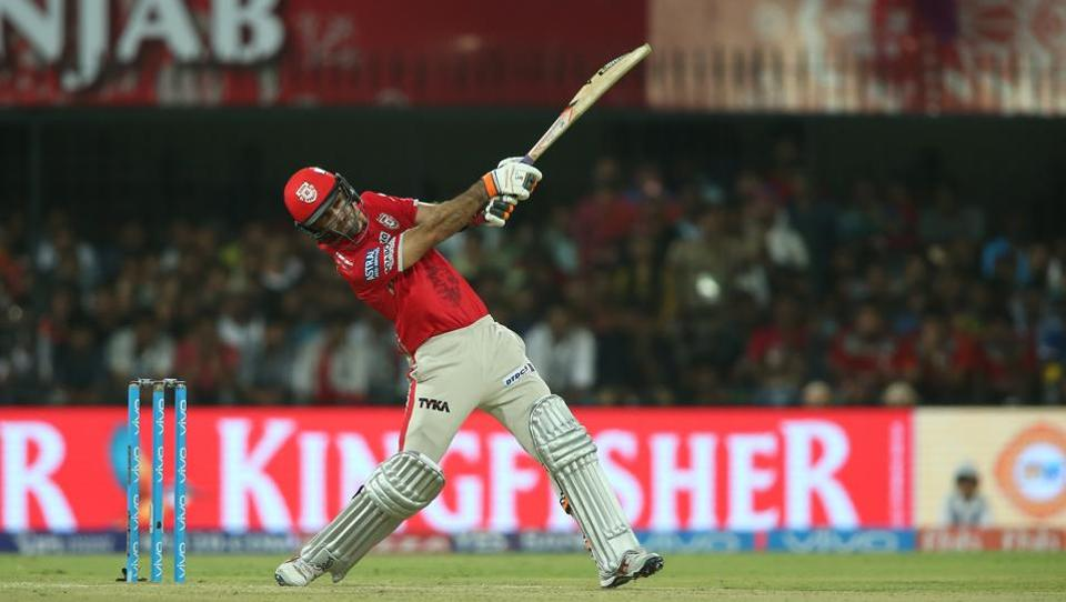 Kings XI Punjab captain Glenn Maxwell hits over the top for six during the Indian Premier League match against Rising Pune Supergiants  in Indore on Saturday.  (BCCI)