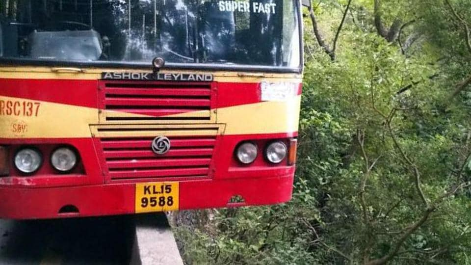 A bus narrowly escapes falling into a deep gorge in Kerala.