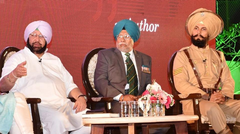 (From left) Punjab CM Capt Amarinder Singh, Brigadier Inderjeet Singh Gakhal (retired) and Randeep Hooda, who is playing Havildar Ishar Singh in a movie on Saragarhi, during launch of 'The 36th Sikhs in the Tirah Campaign 1897-98 — Saragarhi and the defence of the Samana forts' on Saturday.