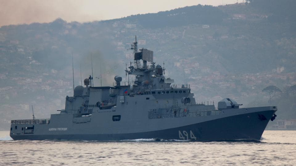 The Russian Navy's frigate Admiral Grigorovich sails in the Bosphorus on its way to the Mediterranean Sea, in Istanbul, Turkey on April 7.