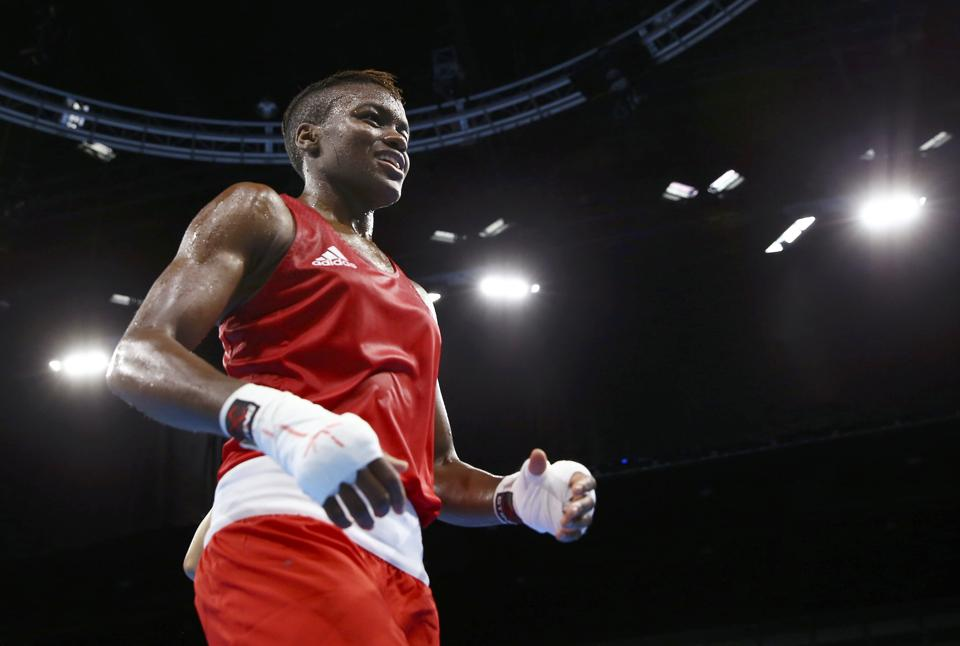 British woman boxer, Nicola Adams, during her successful Rio Olympics campaign last year. The double Olympic champion made an impressive start to her professional career with a points win over Argentina's Virginia Carcamo in Manchester.