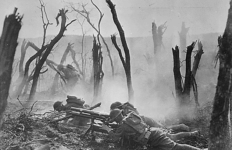 An American gun crew from Regimental Headquarters Company, 23rd Infantry, fires a 37mm gun during an advance against German entrenched positions in an undated photo taken during the First World War. The United States marks 100 years since their entry into World War One on April 6, 2017. (REUTERS)