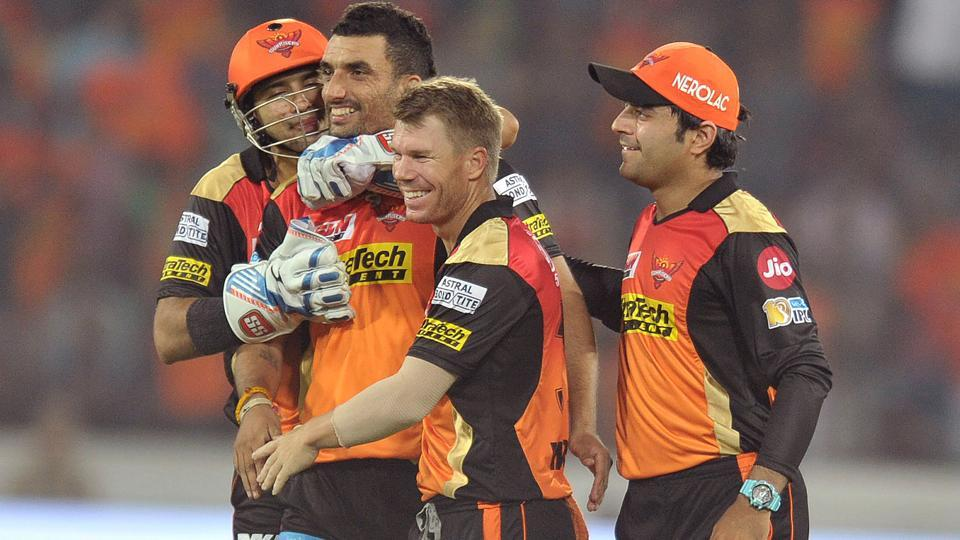 Sunrisers Hyderabad players celebrate a wicket during their 35-run win over Royal Challengers Bangalore in the opening match of IPL 2017. Live streaming and live cricket score of Sunday's 2017 Indian Premier League match between Sunrisers Hyderabad and Gujarat Lions will be available online.